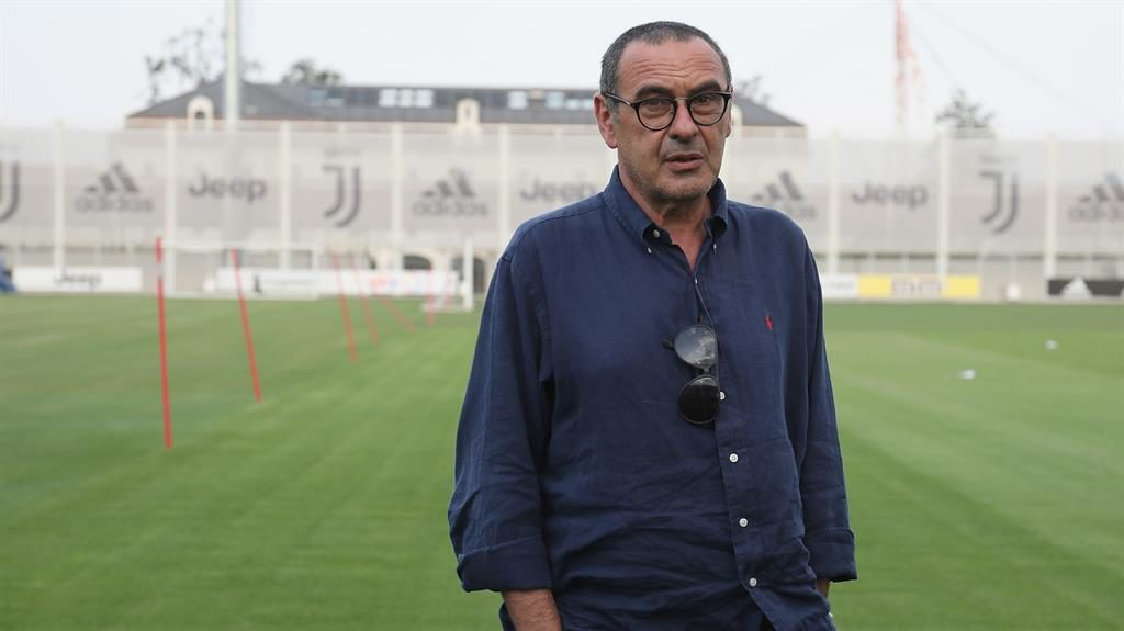 New boy: Maurizio Sarri during his first visit to the Juventus Training Center in Turin