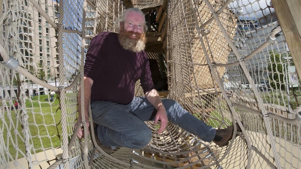 Fun guy: John, above, creates spaces such as at Kidbroke Village, below