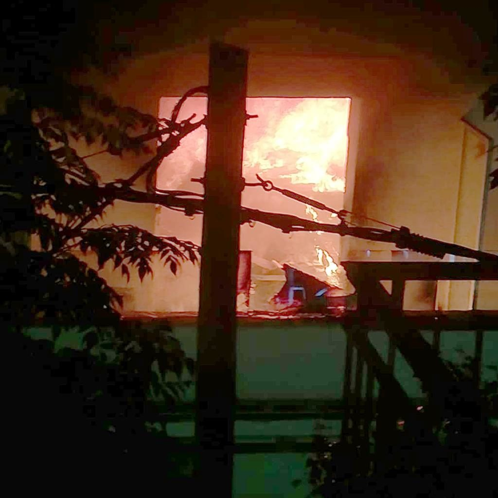 Hotspot: The hotel fire started on the first floor and led to guests having to leave (below) PICTURES: SOLARPIX