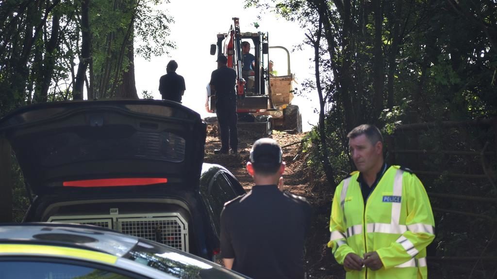 Hunt: Police have begun digging at a site in Pershore, Worcestershire PICTURE: PA