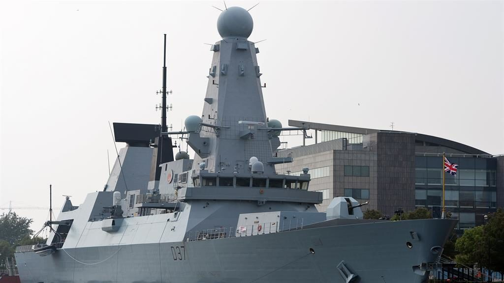 Ready for action: British naval vessel HMS Duncan is pictured docked in Cardiff Bay, Wales PICTURE: GETTY