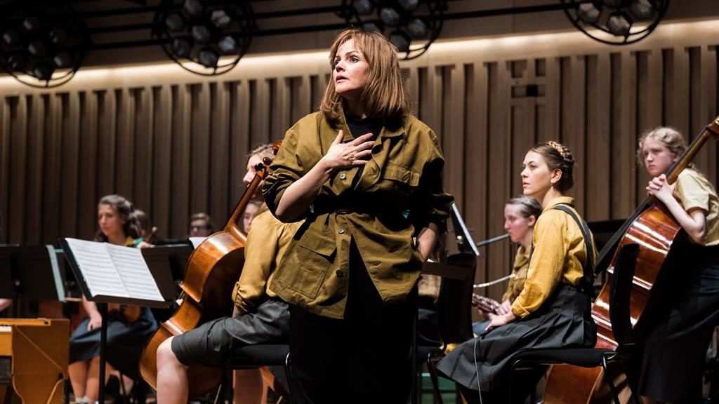 Spookily spot-on: Maxine Peake as Nico with the young orchestra behind her PICTURE: JOSEPH LYNN