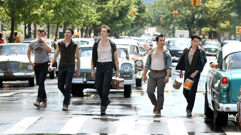 Ready to rumble: Mike Faist and his Jets cohorts look mean as they hold  up traffic on the set in Harlem PICTURE: SPLASH NEWS