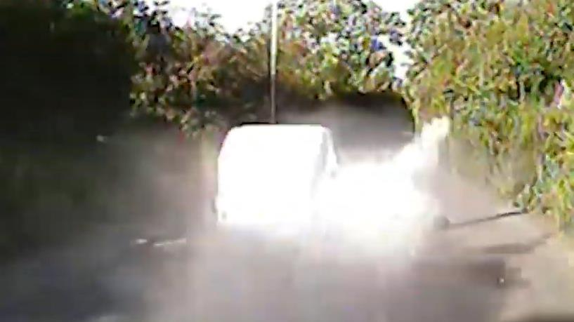 Dust incredible: The dramatic chase was filmed on police dashcam