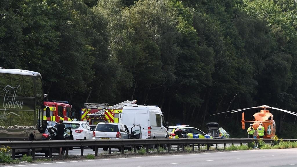 Lengthy delays: The scene of the crash that closed the M11 in Essex PICTURE: BACKGRID