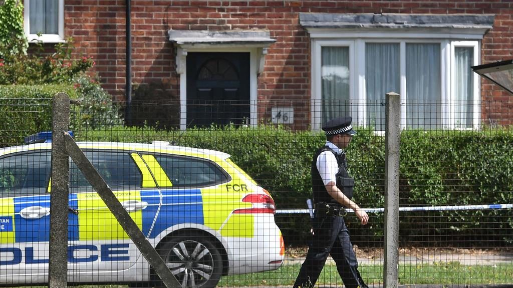 Scene: Police in Waltheof Gardens in Tottenham, north London after an 89-year-old woman was found murdered in her own home PICTURE: PA