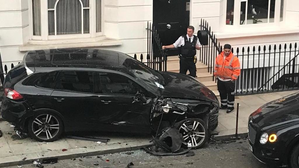 Wrecked: The £40,000 Porsche Cayenne was left on the pavement