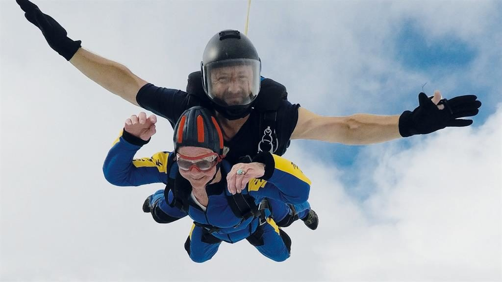 High-flyer: 94-year-old daredevil Adeline Franken has set a new record after becoming Britain's oldest skydiver