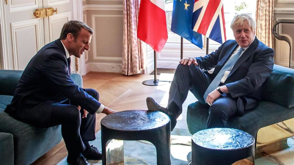Talks: Macron and Johnson at the Elysee Palace PICTURE: GETTY
