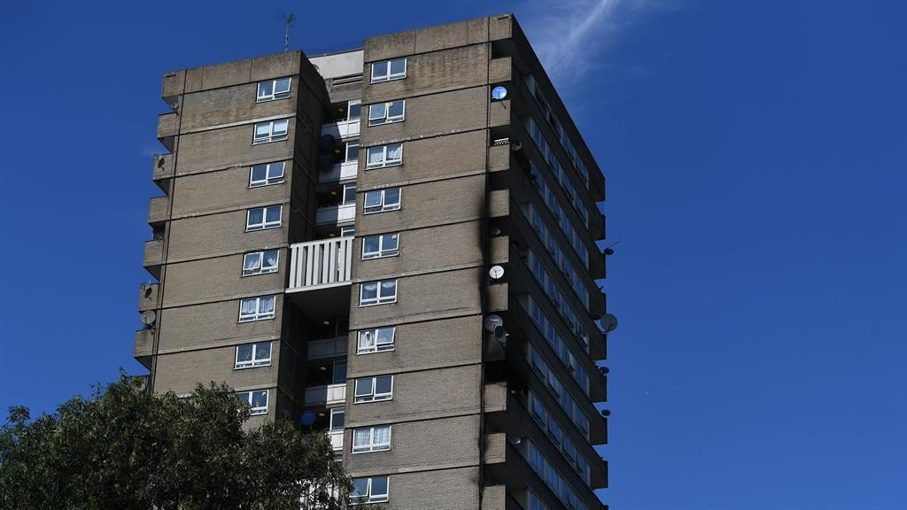 Smoke damage: Markland House after a fire at the flats, a short walk from Grenfell Tower PICTURE: PA