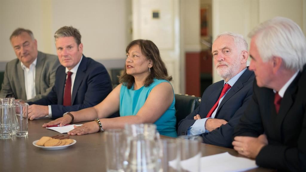 In it together: (Left to right) shadow chief whip Nick Brown, shadow Brexit secretary Sir Kier Starmer, shadow leader of the House of Commons Valerie Vaz, Labour Party leader Jeremy Corbyn and shadow chancellor John McDonnell
