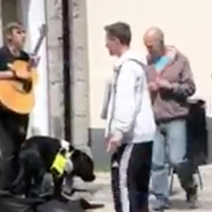 Viral clip: The pair approach Chris Chadwick-Parnell, who is blind, and steal cash from his guitar case (below) PICTURES: WALES NEWS SERVICE
