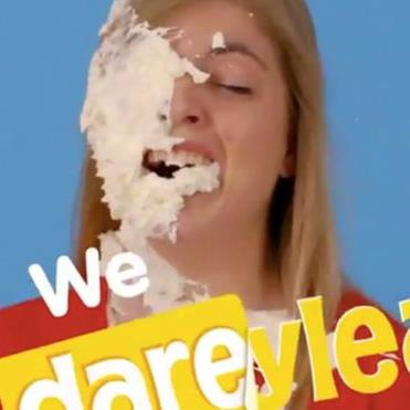Pied off: Parents said the ad, showing a woman hit in the face with food, is insensitive PICTURE: TWITTER