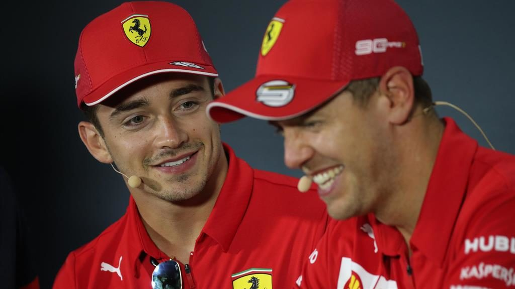 Best friends Fer-ever Leclerc and Vettel enjoy a laugh together yesterday