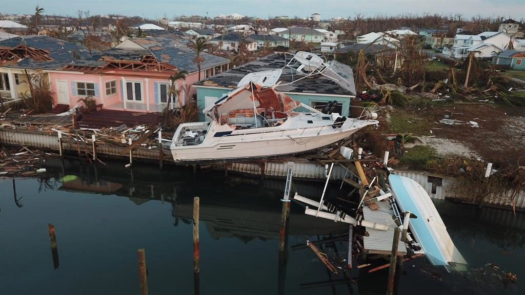 Run aground: Boats blown ashore at the Abaco Beach Resort PICTURE: AP