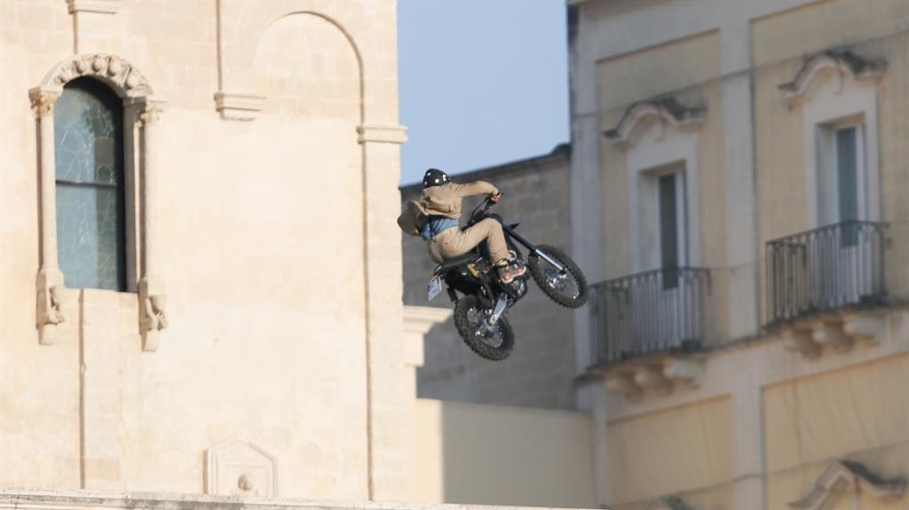 Off-roader: Motorcyclist hangs in the air in Matera, southern Italy