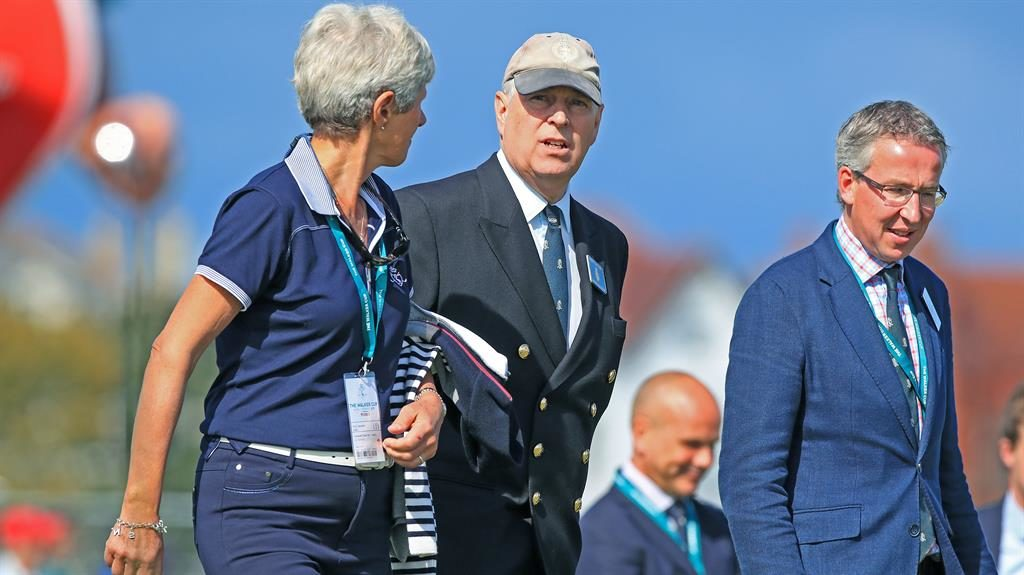 Prince and putter: Andrew chats to ladies' course captain Dr Maureen Richmond during the Walker Cup at Royal Liverpool Golf Club PICTURE: PA