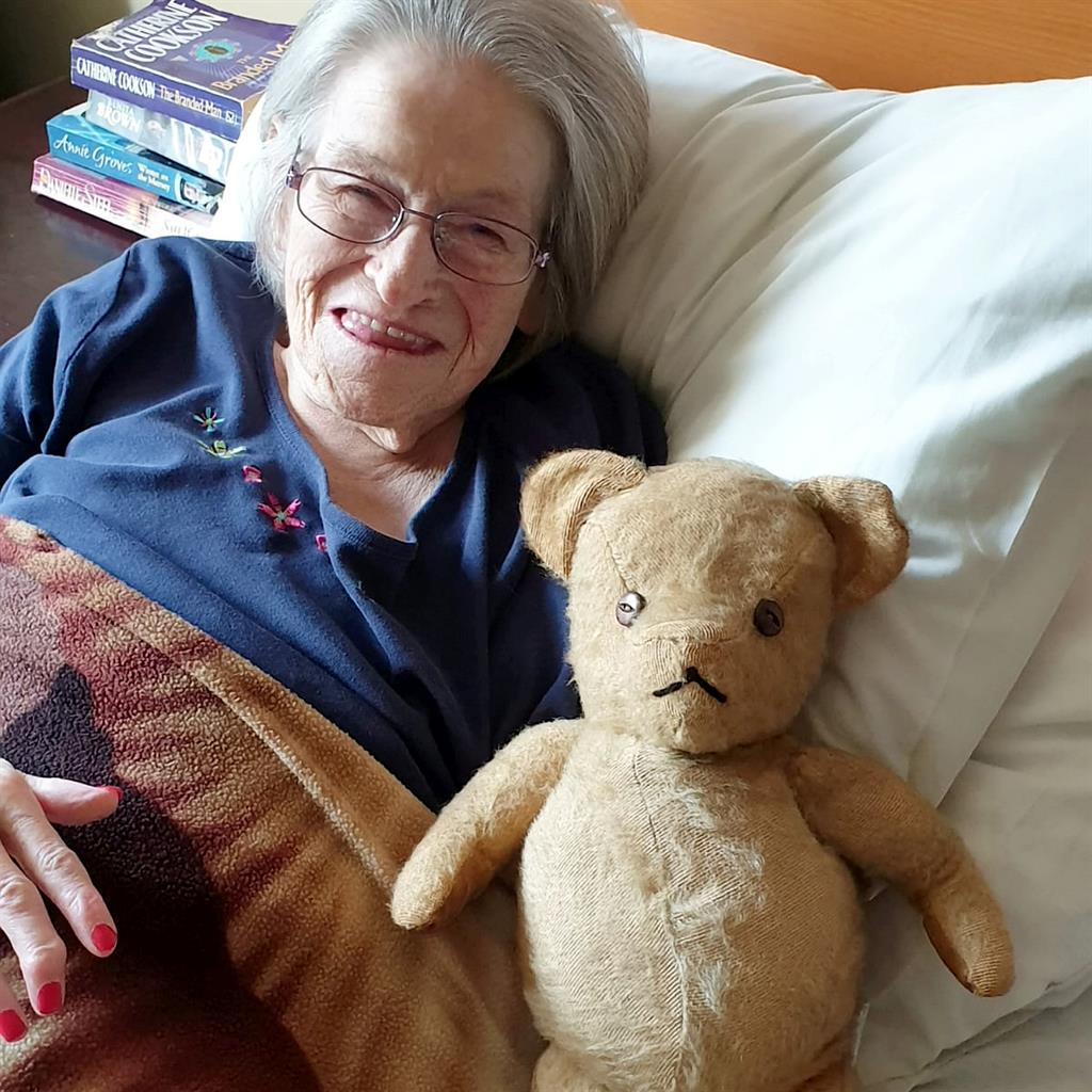 Joy story: Elizabeth Briggs, 76, reunited with her teddy bear PICTURES: SWNS