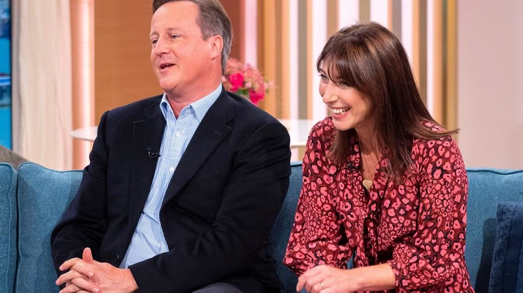 Sofa, so good: The Camerons are all smiles on This Morning