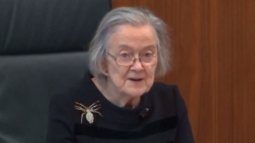 Verdict: Lady Hale, wearing a giant spider brooch, reads out decision stating that suspension of parliament was illegal PICTURES: PA/AP