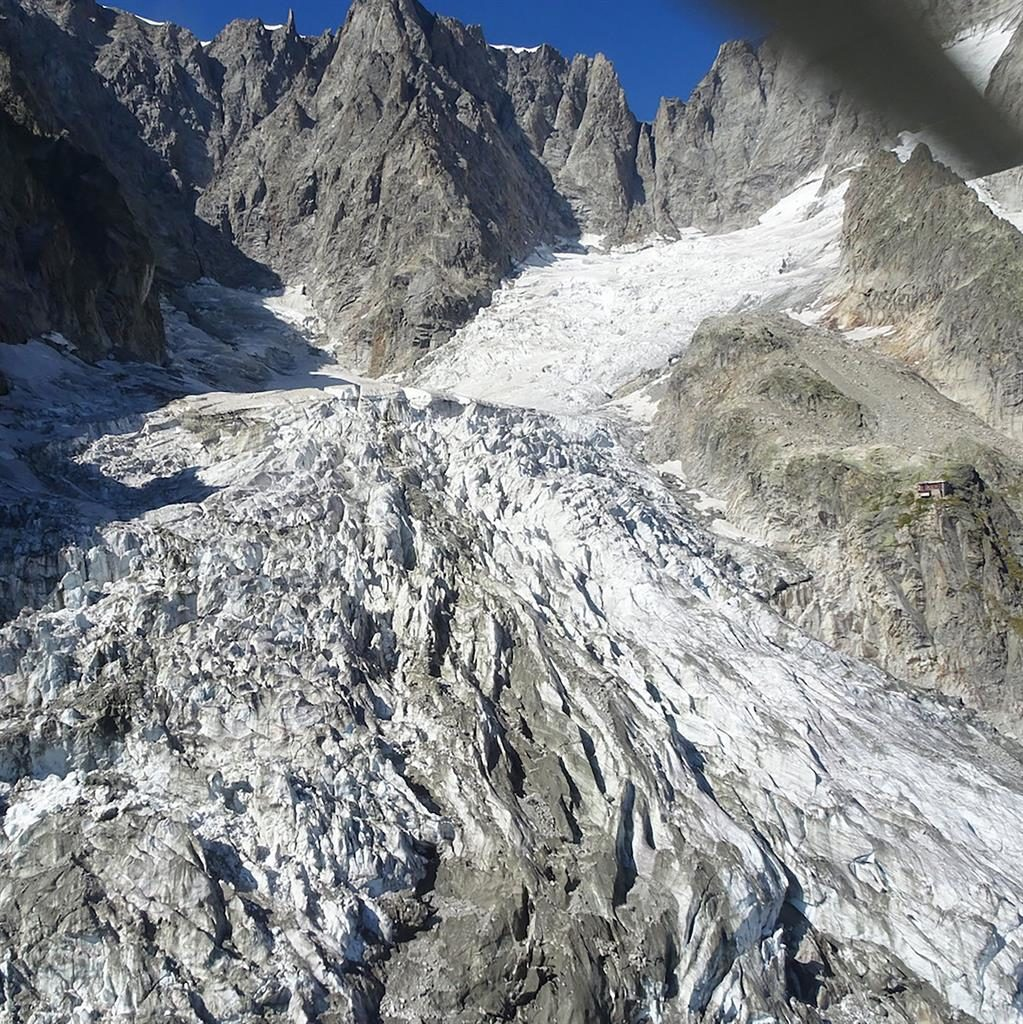 'Breaking up': The Planpincieux glacier on the Grandes Jorasses peak PICTURE: GETTY