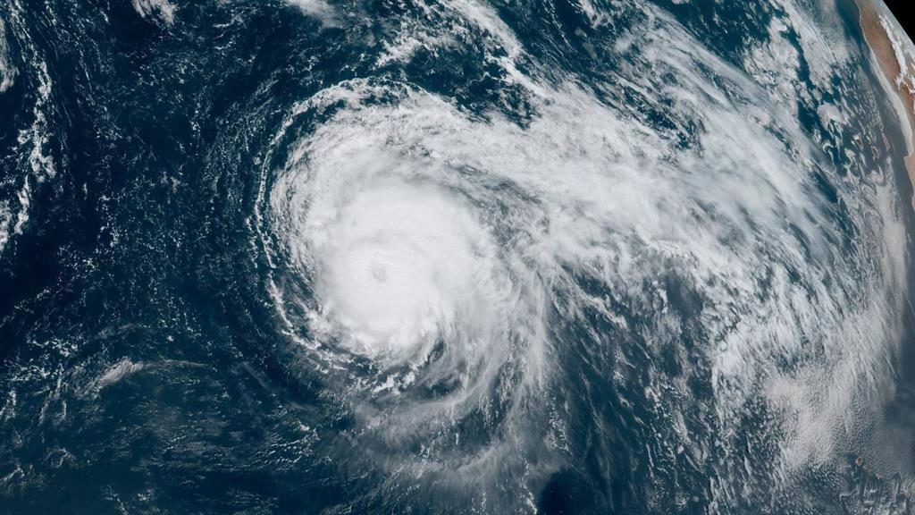On its way: Lorenzo is currently in the Atlantic with winds of up to 155mph PICTURE: NATIONAL HURRICANE CENTER