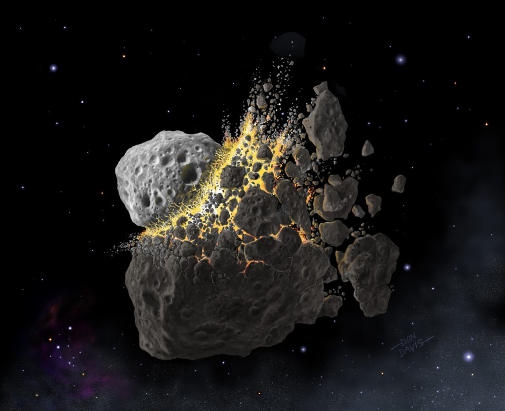 EMBARGOED TO 1900 ON WEDNESDAY SEPTEMBER 18  Undated handout illustration issued by the Southwest Research Institute of the giant asteroid collision in outer space that produced the dust that led to an ice age on Earth. PA Photo. Issue date: Wednesday September 18, 2019. New research suggests that a gigantic asteroid collision in outer space 470 million years ago that caused  dramatic changes to life on Earth could offer clues on how to tackle global warming. See PA story SCIENCE Asteroid. Photo credit should read: Don Davis/Southwest Research Institute/PA Wire  NOTE TO EDITORS: This handout photo may only be used in for editorial reporting purposes for the contemporaneous illustration of events, things or the people in the image or facts mentioned in the caption. Reuse of the picture may require further permission from the copyright holder.