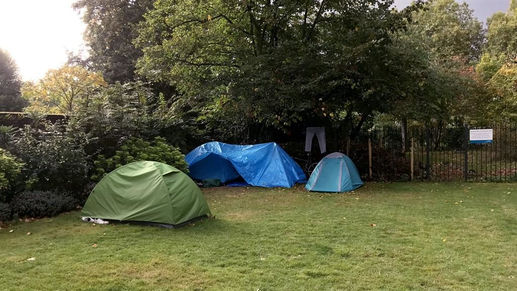 Life under canvas: The tents in the garden of the Imperial War Museum in south London (below) PICTURES: NICK EDWARDS/SWNS