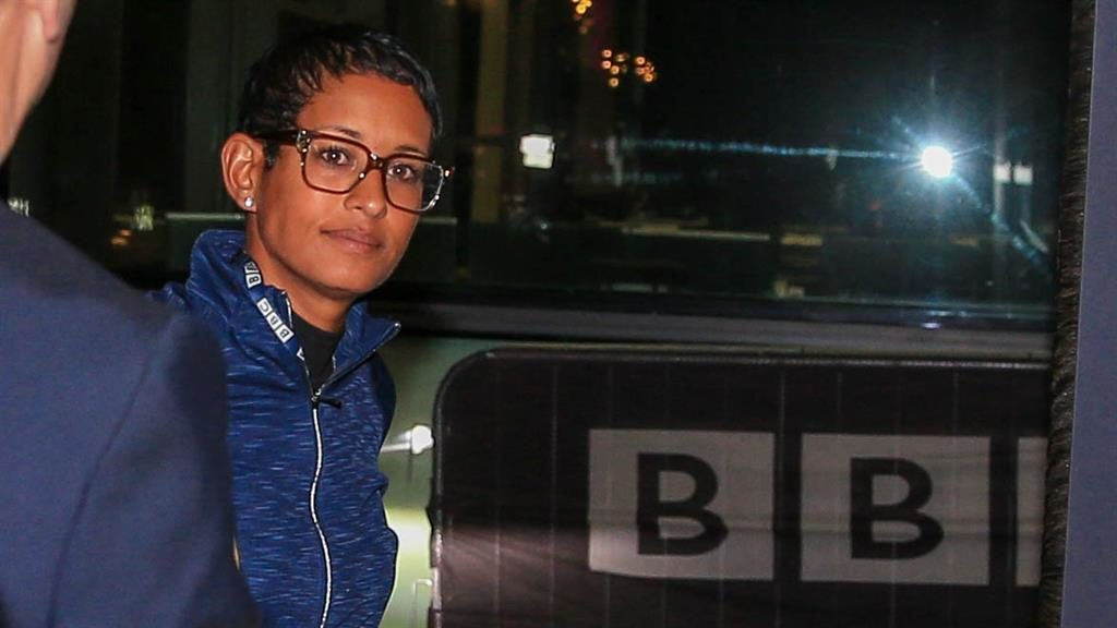 Silent return: Naga Munchetty arrives at the BBC's Salford studios PICTURES: PA/BBC/AP