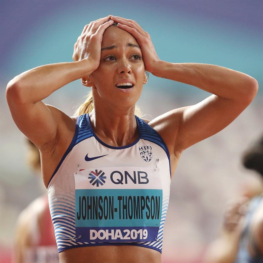 Magic moment: Johnson-Thompson looks stunned by her golden triumph