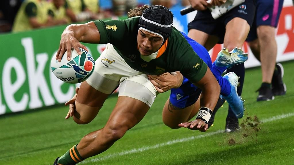 Impressive: South Africa's wing Cheslin Kolbe scores one of his two tries PICTURE: GETTY