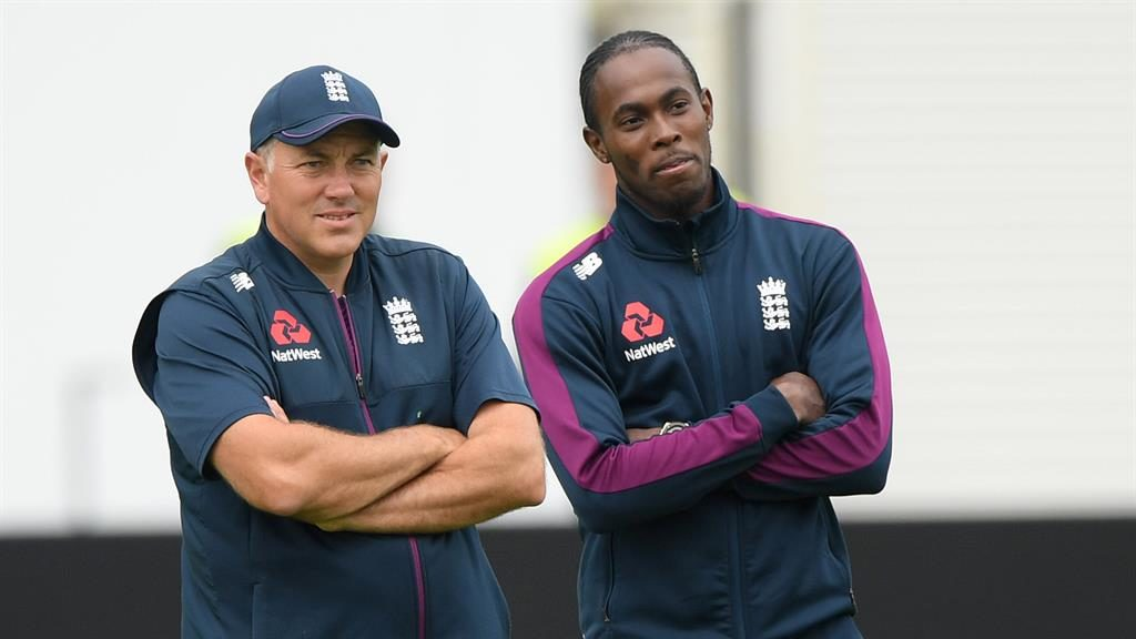 Quick thinking: Silverwood (left) with bowler Jofra Archer PICTURE: GETTY