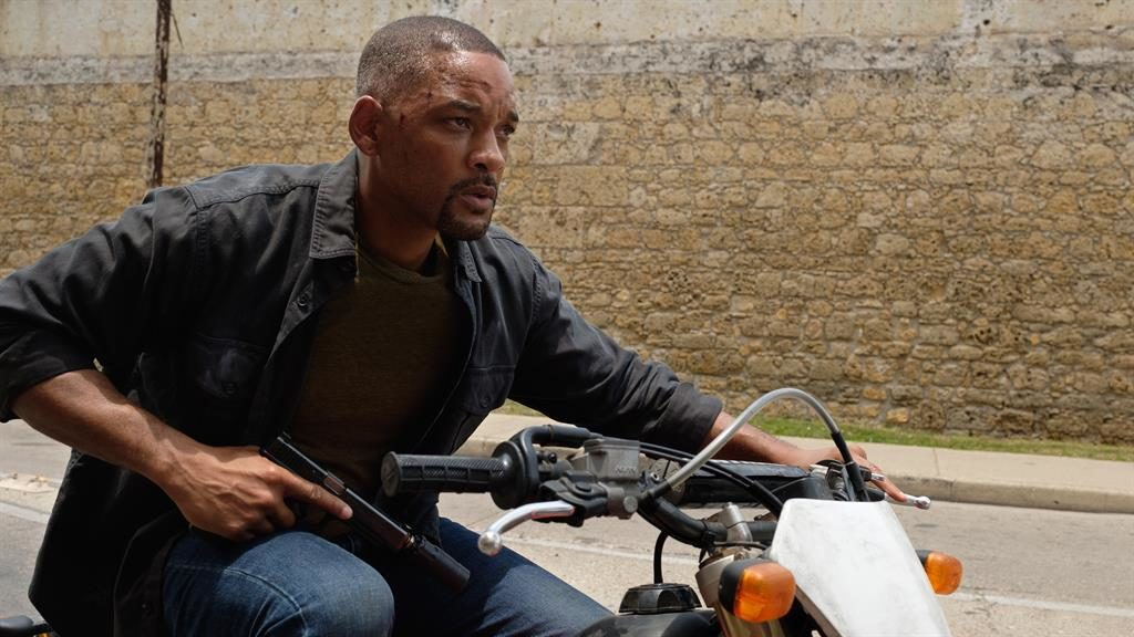 Nothing in the tank: Will Smith plays dual roles — with Junior (below) entirely computer-generated