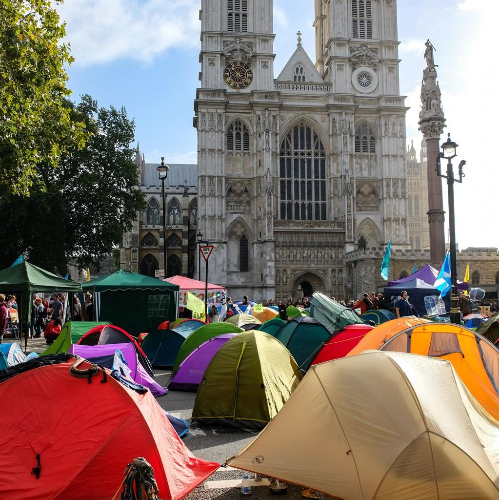 Scenic spot: Protesters' tents pitched outside Westminster Abbey PICTURE: REX
