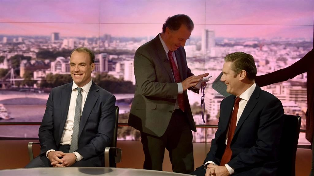 Break in hostilities: Dominic Raab (left), Oliver Letwin (centre) and Sir Keir Starmer chuckle in the Marr show studio PICTURE: GETTY