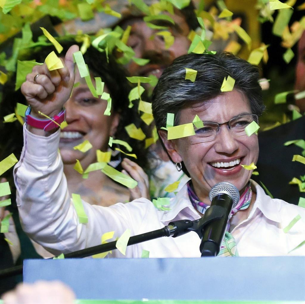 Triumph: Winner Claudia Lopez PICTURE: EPA