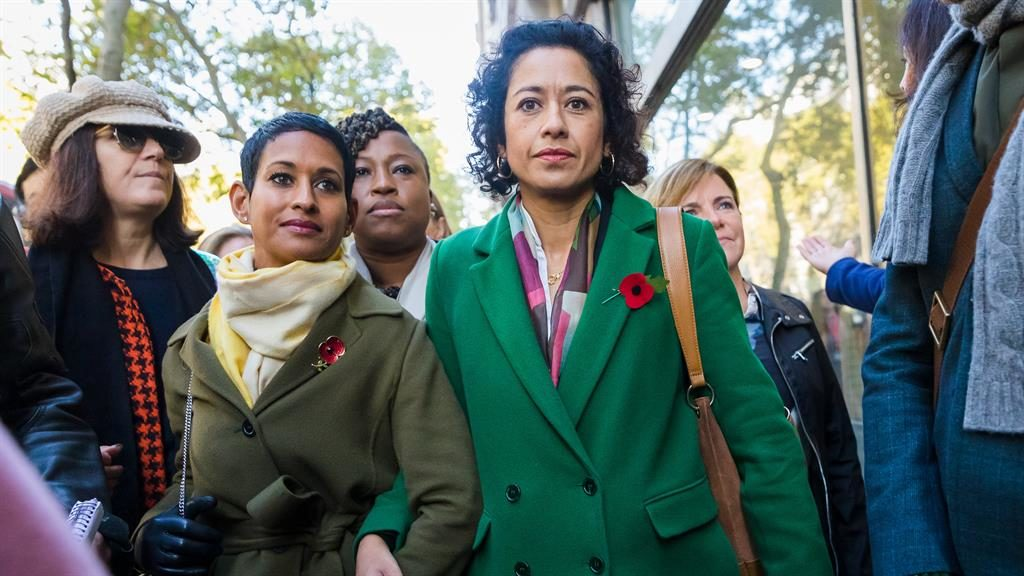 Support: Samira Ahmed arrives at the tribunal with her fellow BBC presenter Naga Munchetty PICTURE: VICKIE FLORES/LNP