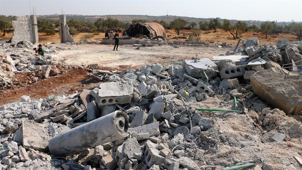Rubble: Aftermath of the US raid in northern Syria, which Kurdish-led SDF forces claim they made possible PICTURE: GETTY