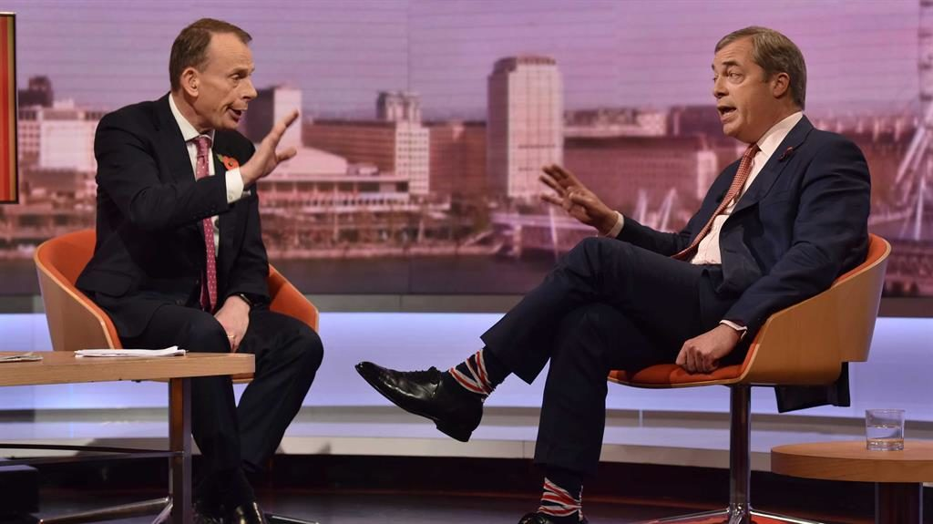 Flagging hopes: Mr Farage, in Union Jack socks, told Andrew Marr Tory pact was unlikely PICTURE: PA