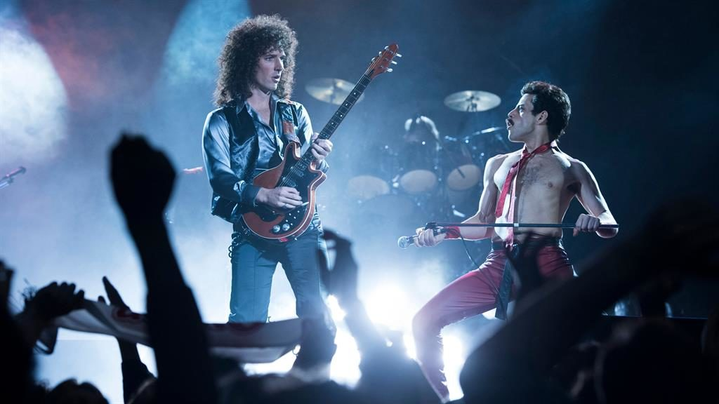 Wish you were here? So do these guys! Rami Malek (right) and Gwilym Lee recreate Queen's iconic Live Aid performance in 2018 film Bohemian Rhapsody PICTURE: REX