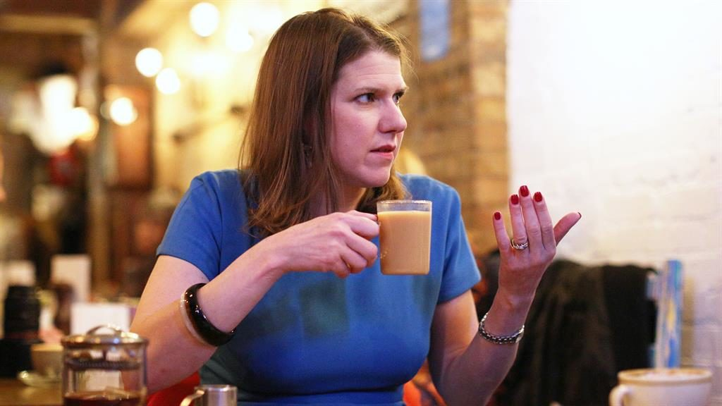 Positivi-tea: Jo Swinson in Golders Green, north London, yesterday PICTURE: AARON CHOWN/PA