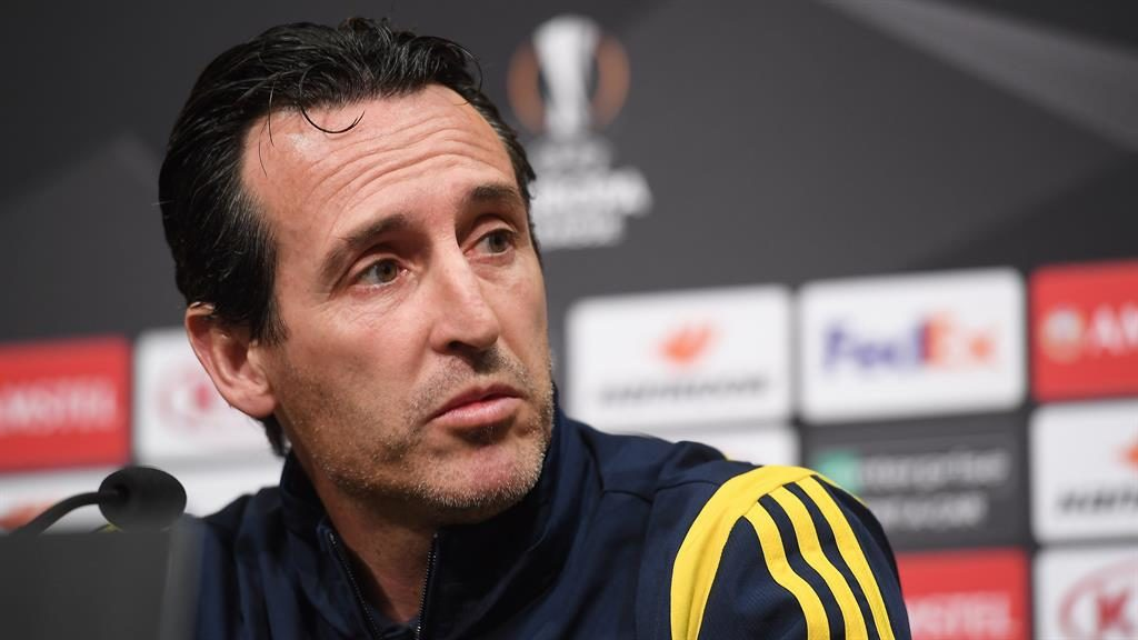 Defiant: Arsenal head coach Unai Emery PICTURE: EPA