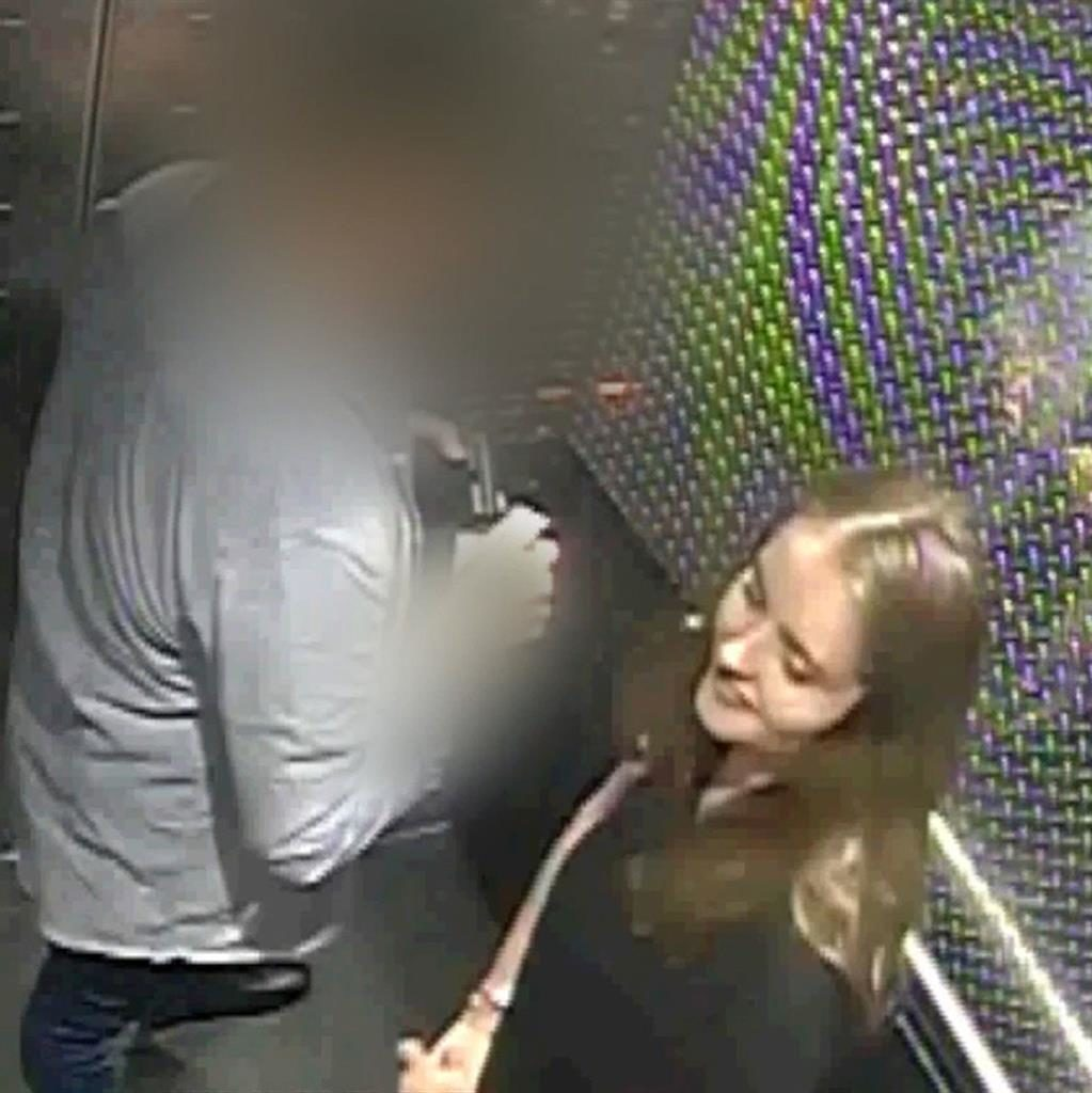 Chilling: Grace is seen in a lift with her alleged killer - the last time she was seen alive