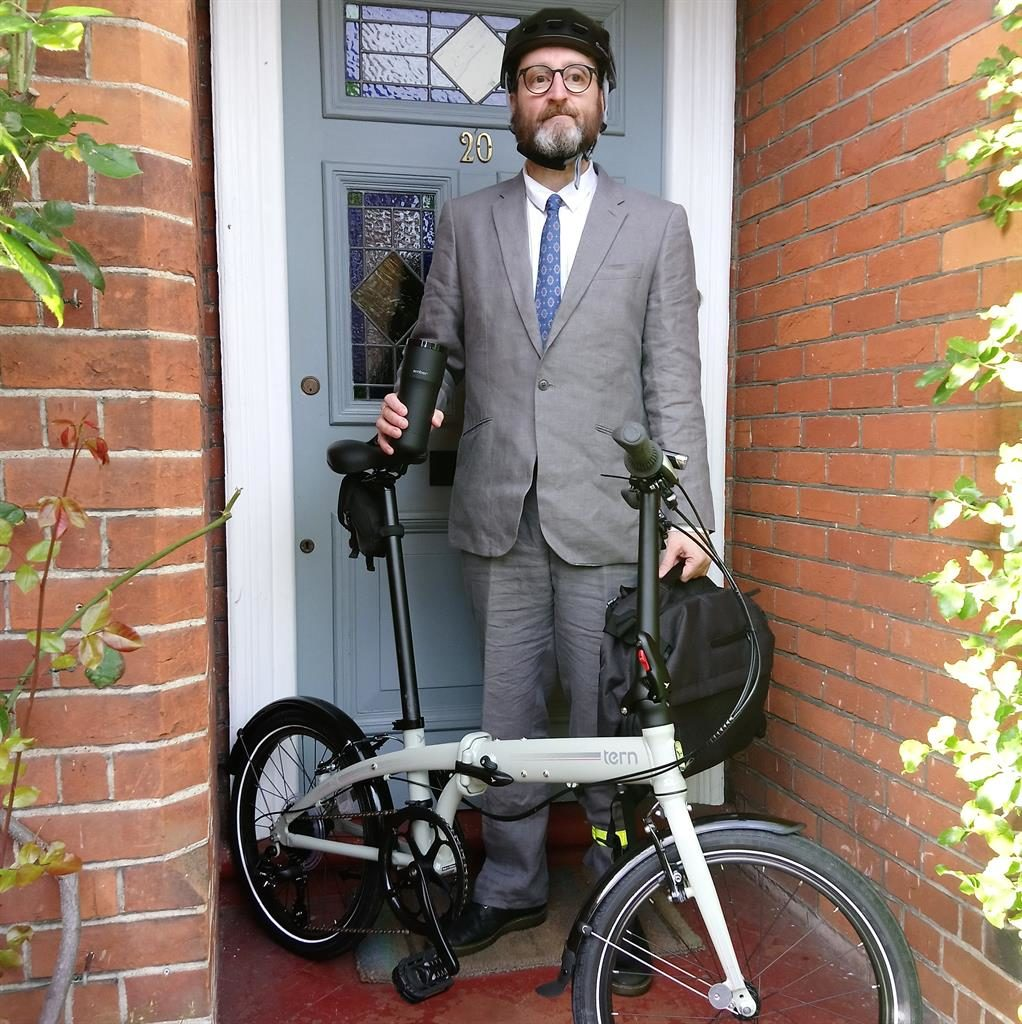Wheel deal: Keen cyclist Paul with the Tern Link C8 folding bike
