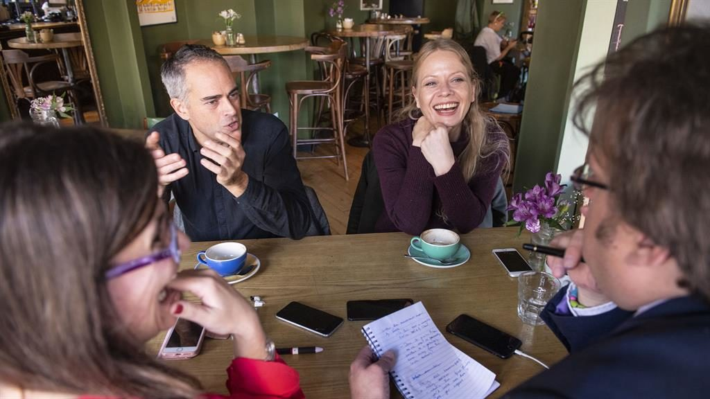 Green credentials: Jonathan Bartley and Sian Berry talk to  our reporters  PICTURES: LUCY YOUNG