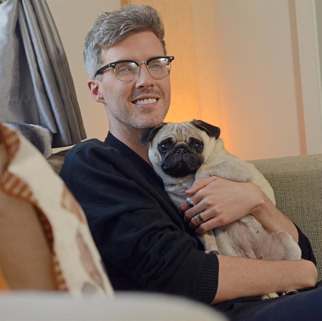 Pug life: Jamie and Betty are blissfully happy in their Hertfordshire home; below: Jamie loves the house's original features