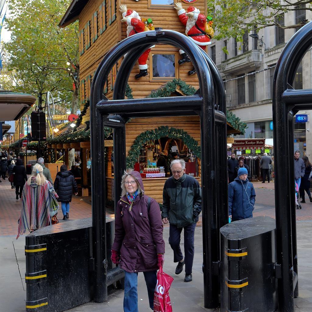 Pedestrian party: Frankfurt Christmas Market, Birmingham, has barricades PICTURES: SWNS