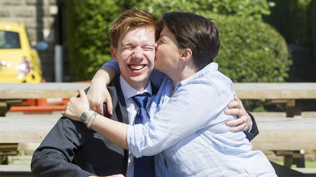 Clincher: Ruth Davidson, then leader of the Scots Tories, kisses Paul Masterton on the campaign trail in 2017 PICTURE: SWNS