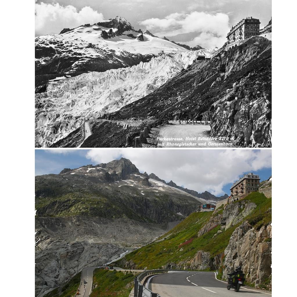 Abandoned: The Belvedere Hotel shut after the Rhone glacier (pictured top in 1938) retreated more than a mile PICTURES: DENIS BAILBOUSE/REUTERS