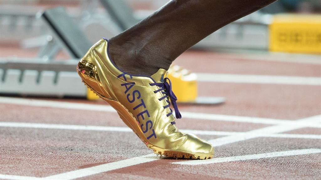 Golden boots: Sprinter Usain Bolt's 2017 Puma running shoes PICTURE: REX